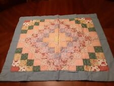 "Arch Pillow Sham 30 1/2"" x 25"" Shades of Blue & Peach Quilted"