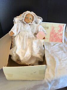 1989 RAIKES Original Hand Carved Wood Baby Doll Juliet w/ Bassinet Box COA & Tag