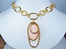 """Pink Enamel - 16-18"""" 1404 Nina Ricci Gold Plated Necklace with"""