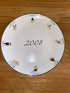 "POTTERY BARN 2008 REINDEER SERVING CHARGER PLATTER 14"" SILVER TRIM"