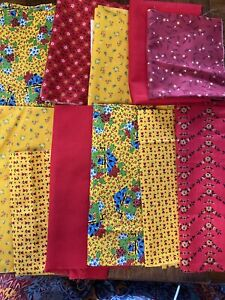 Vintage Red/Yellow Lot Cotton Fabric Pcs for Quilts, Masks, Dolls Clothes 11