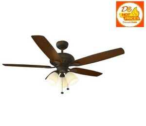 Hampton Bay Rockport 52 in. LED Oil Rubbed Bronze Ceiling Fan with Light Kit