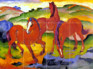 Art Franz Marc Ceramic Mural Backsplash Red Horses Tile #75