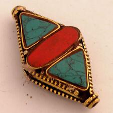 Turquoise Coral Brass Focal Beads Ethnic Tribal Gypsy Boho Bohemian Nepal AA55