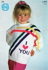 ~ Knitting Pattern For Child's 'I Love You' Sweater ~
