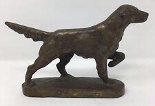 Vintage Bronze Iron Dog Retriever Irish Setter Pointer set on Base