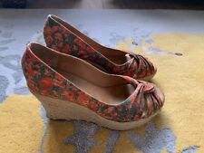 Paul Smith Poppy Print Canvas Wedge Shoes Size 39