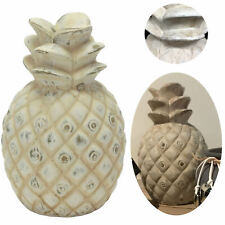 XL Deko Objekt Ananas Keramik Shabby Grau Weiß Skulptur Frucht Tisch-Deko Figur