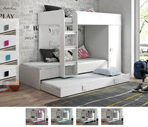 Rife 2 Hochbett Etagenbett 3 Liegeflächen Kleiderschrank Treppe Weiß 90x200 cm