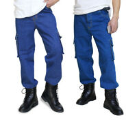 Mens Casual Loose Jeans Denim Pant Cargo Work Pants Tactical Trousers Pockets