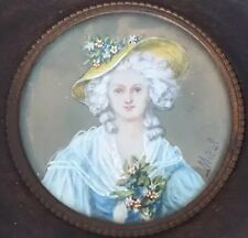 Fine French Antique Miniature Hand Painted Portrait Of Beautiful Lady Signed