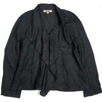 Flax Womens M Ruffle Top Shirt Linen Blouse Oversized Long Sleeve Black