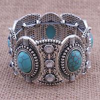 Vintage Retro Natural Türkis Armband Tibet Silber breit Armreif Schmuck Pop.