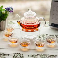600ml 20fl.oz Heatproof Glass Pumpkin Teapot w/ Infuser+6x cups+Warmer Teaset