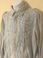 DIESEL Men's Striped Long-Sleeve Epaulette Button Down Shirt 100% Cotton - Large
