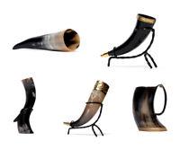 Trinkhorn Becher Hornbecher aus Kuhhorn poliert mit Halter Rinderhorn Wikinger