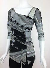 L Casual, Party, Evening, Work Asymmetrical Neckline Top Tunic Blouse OS421