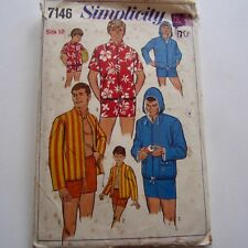 Simplicity 7146 sewing pattern Complete 1967 Vintage retro Boys Hooded Jacket 10