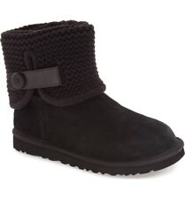 UGG Brand Womens Shaina Sweater Knit Suede Boots Black 5 6 7 8 9 10 NEW