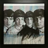 JEN ALLEN SIGNED ORIGINAL ACRYLIC PAINTING ON CANVAS PORTRAIT THE BEATLES LINEUP