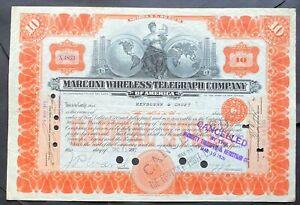 MARCONI WIRELESS TELEGRAPH Stock 1912 Guglielmo Marconi 1897. GE-RCA Early Issue