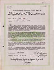 BERLIN, Reparatur-Abonnement 1934, National-Krupp Registrier Kassen GmbH