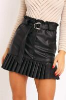 Womens Ladies Faux Leather Pleated Belted Mini Skirt 8-14