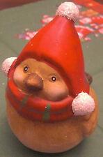 Weihnachten Vogel Weihnachtsmütze Mütze & dicker Schal 9 x 8 cm Keramik Deko Neu