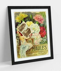 QUIRKY VINTAGE FLOWERS ADVERTISEMENT ART POSTER -FRAMED WALL ART PICTURE PRINT