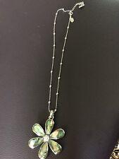 Lia Sophia Silver Chain Necklace With Rhinestone Flower Pendant