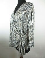 Suzanne Grae Womens Sz M Reptile Print LS Crossover Side Tie Top VGC