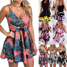 Women Ladies Floral Sundress Party Cocktail Swing Skater Short Mini Dress Summer