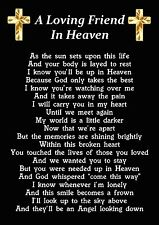 A Loving Friend In Heaven Memorial Graveside Poem Card With Ground Stake F240