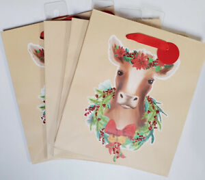 """Pioneer Woman Christmas Gift Bags Set Of 4 """"Christmas Cow"""" Beige Red Green"""