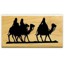Magi on Camels Silhouette mounted rubber stamp Christmas nativity, 3 wisemen #13