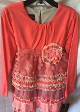 Isobella And Chloe Girls Two Piece Coral Ruffle Tunic & Pant Set 6X-New