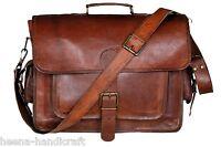 Men's Genuine Vintage Brown Leather Messenger Bag Shoulder Laptop Bag Briefcases