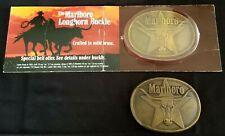 Lot of 2 Vintage Philip Morris Marlboro Cigarette Brass Belt Buckles 1 In Origin