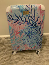LILLY PULITZER GWP BLUE KALEIDOSCOPE CORAL ROLLING SUITCASE LUGGAGE CARRY ON