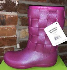 CROCS WINTER BOOTS Women's 8 Berry pink Sparkle New
