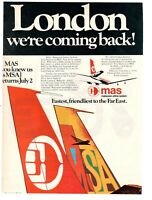 1974 Original Advertising' Vintage Mas Malaysian Airline System London