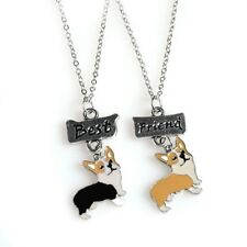 Stunning Silver Tone pair of best friends Corgi Dog Necklace....