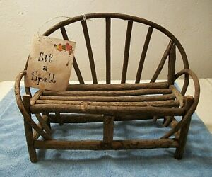 Set A Spell Bent Real Wood Doll Bench Handmade Rustic