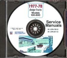 DODGE 1977 & 1978 Pick Up & Truck Shop Manual CD 77, 78