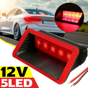 US 5 LED 12V Universal Car High Mount Rear Third 3rd Brake Stop Tail Light  +