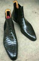 Custom Handmade Men,s Chelsea Black Leather Crocodile Texture Ankle Boots/Shoes
