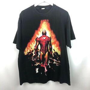 VTG Marvel Ironman T Shirt Sz XL Black Explosion Cartoon Mad Engine Stark Anime