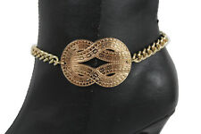 Western Women Gold Metal Chain Boot Bracelet Shoe Anklet Infinity Braided Charm