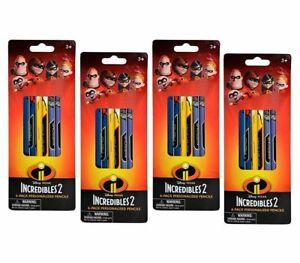 Disney 4-Pack Set 6-ct Pixar Incredibles 2 Wood #2 Pencils with Erasers 24 Total