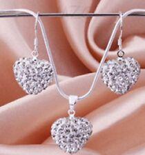 Silver Heart Crystal Gem Shamballa Necklace & Earring Set